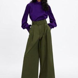 Zara Olive Green Wide Leg Belted Pants